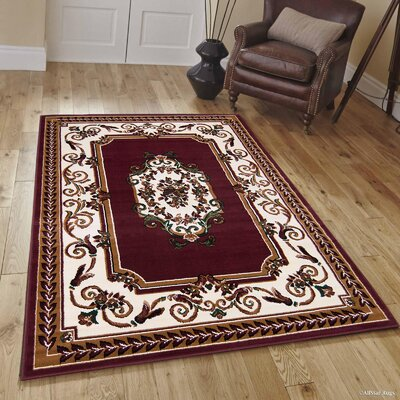Hand-Woven Burgundy Area Rug Rug Size: Rectangle 8 x 10