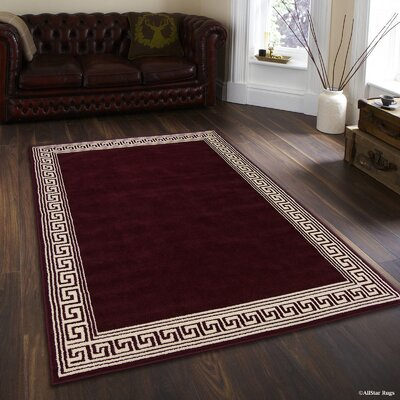 Idina Burgundy High Quality Woven Traditional Southwestern Geometric Border Designed Solid Area Rug (2 0 X 2 11)