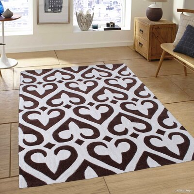 Alma High-Quality Transitional Inverted Fleur De Lis Chocolate Area Rug