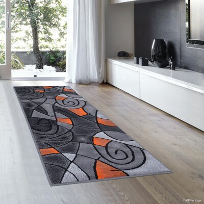 Orange/Gray Area Rug Rug Size: Runner 2' x 7'