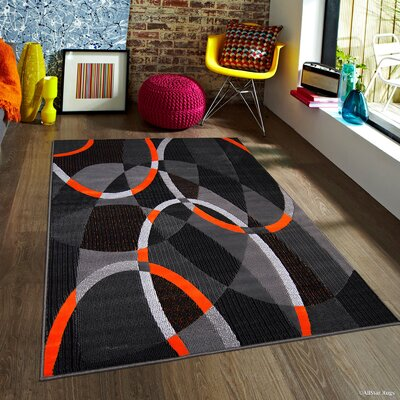 Keeler High Quality Exclusive Drop-Stitch Linear Designed Orange Olefin Area Rug Rug Size: 710 x 10
