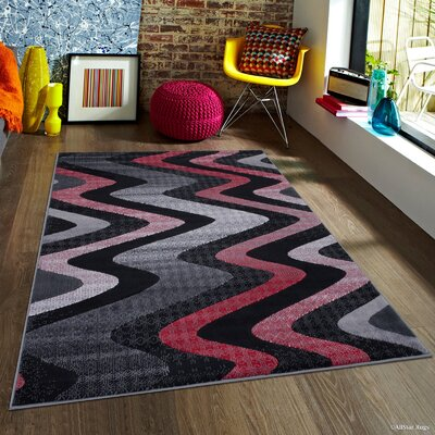 Keeler High-Quality Drop-Stitch Distressed Wavy Linear Lava Area Rug Rug Size: 5 x 611