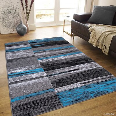 Keeler High-Quality Distressed Designed Blue Area Rug
