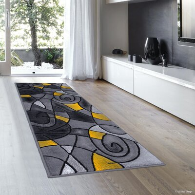 Imelda Linear Abstract Designed Yellow Area Rug