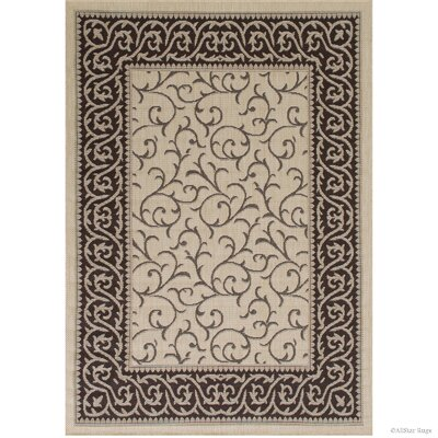 Morales All-Weather Floral Sage Beige Indoor/Outdoor Area Rug Rug Size: 5 x 7