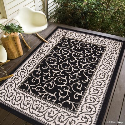 Morales All-Weather Floral Black Indoor/Outdoor Area Rug Rug Size: 5 x 7