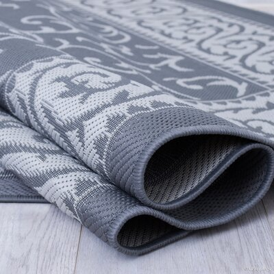 Morales All-Weather Floral Gray Indoor/Outdoor Area Rug Rug Size: 710 x 102