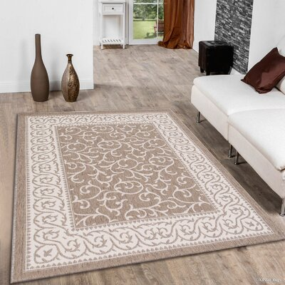Morales All-Weather Floral Mocha Indoor/Outdoor Area Rug Rug Size: Rectangle 5 x 7