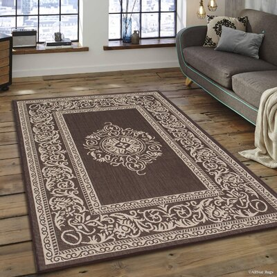 Solomon Chocolate Indoor/Outdoor Area Rug Rug Size: 5 x 7