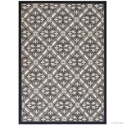 Benningfield All Weather Black Indoor/Outdoor Area Rug Rug Size: 5 x 7