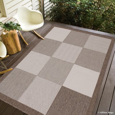 Russo All Weather Indoor/Outdoor Mocha Area Rug Rug Size: 5 x 7
