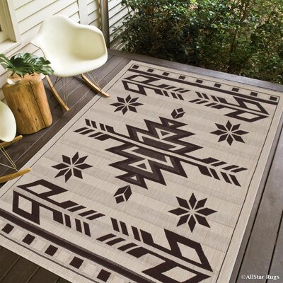 Ilana All Weather Indoor/Outdoor Beige Area Rug Rug Size: 5 x 7