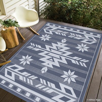 Ilana All Weather Indoor/Outdoor Gray Area Rug Rug Size: 5 x 7