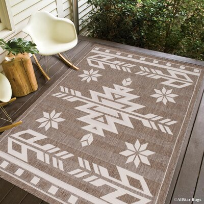 Ilana All Weather Indoor/Outdoor Mocha Area Rug Rug Size: 5 x 7