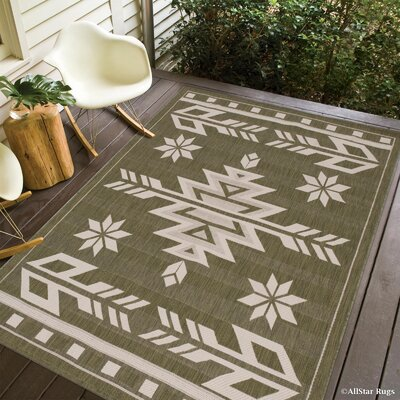 Ilana All Weather Indoor/Outdoor Sage Green Area Rug Rug Size: 710 x 102