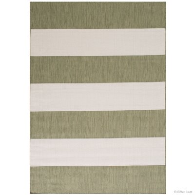 Kirree All Weather Green Indoor/Outdoor Area Rug Rug Size: 5 x 7