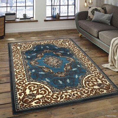 Andrews High-Quality Woven Floral Printed Double Shot Drop-Stitch Carving Light Blue Area Rug Rug Size: 52x 72