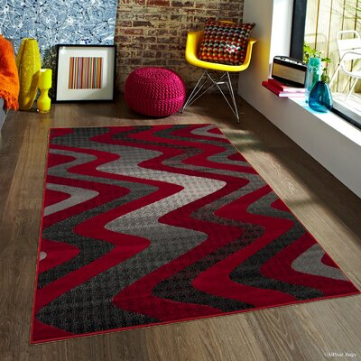 Keeler High-Quality Drop-Stitch Wavy Linear Designed Red Area Rug Rug Size: 5 x 611