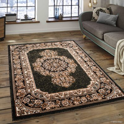 Arkin High-Quality Woven Double Shot Drop-Stitch Carving Green Area Rug Rug Size: 52 x 72