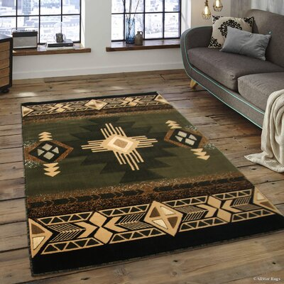 Iberide High-Quality Woven Native American Runner Double Shot Drop-Stitch Carving Sage Green Area Rug Rug Size: 710 x 102