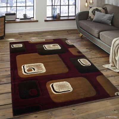Spencer Burgundy Area Rug Rug Size: 52 x 72