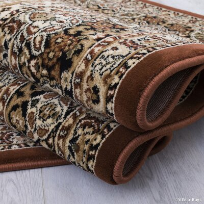 Arison All-Over Royal Patterned Brown Area Rug Rug Size: 53 x 75