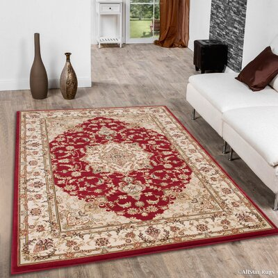 Arison High-End Ultra-Dense Woven Red Area Rug Rug Size: 53 x 75