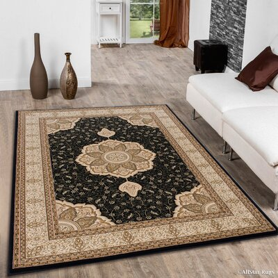 Higgins Black Area Rug Rug Size: 53 x 75