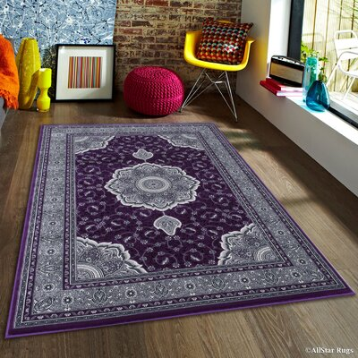 Inouye High-End Ultra-Dense Thick Woven Floral Art Deco Patterned Raspberry Area Rug Rug Size: 53 x 75