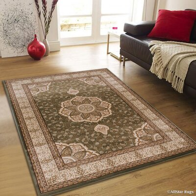 Inouye High-End Ultra-Dense Thick Woven Floral Art Deco Patterned Sage Green Area Rug Rug Size: 53 x 75