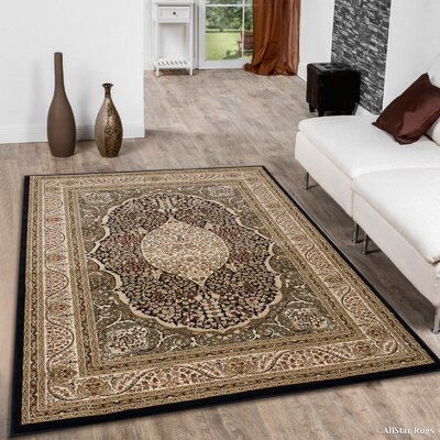 Inouye High-End Ultra-Dense Thick Woven Floral Art Deco Patterned Brown Area Rug Rug Size: 53 x 75
