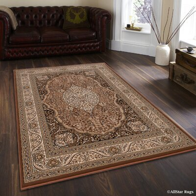 Inouye High-End Ultra Dense Floral Art Deco Brown Area Rug Rug Size: 53 x 75