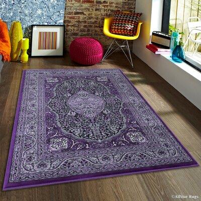 Inouye High-End Ultra Dense Floral Art Deco Raspberry Area Rug Rug Size: 67 x 93
