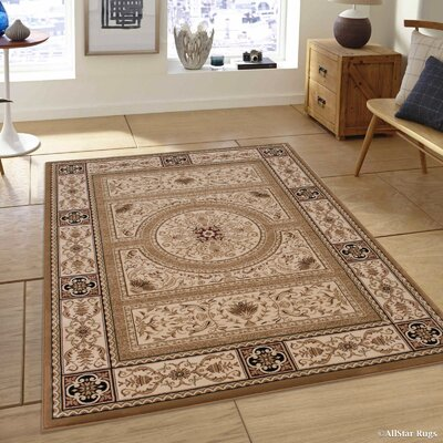 Hubbard High-End Ultra-Dense Thick Woven Floral Beige Area Rug Rug Size: 53 x 75