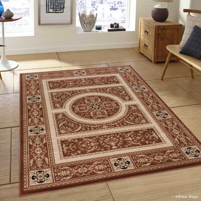 Hubbard High-End Ultra-Dense Thick Woven Floral Brown Area Rug Rug Size: 53 x 75