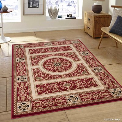 Hubbard High-End Ultra-Dense Thick Woven Floral Red Area Rug Rug Size: 53 x 75