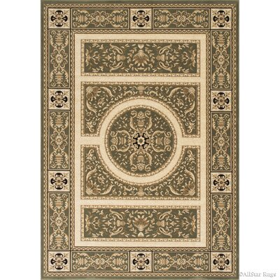 Hubbard High-End Ultra-Dense Thick Woven Floral Sage Green Area Rug Rug Size: 67 x 93