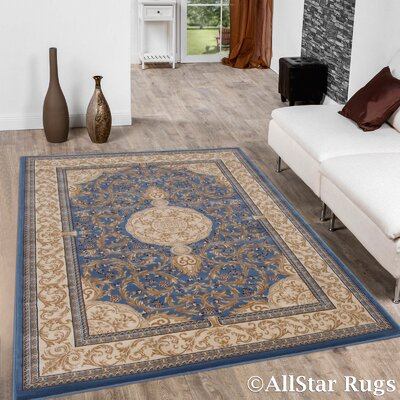 Arpdale High-End Ultra-Dense Thick Bordered Floral Sage Blue Area Rug ATGD5470 39800115