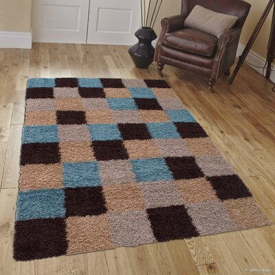 Kellam High Pile Posh Shaggy Checkered Mocha Area Rug Rug Size: 5 x 7