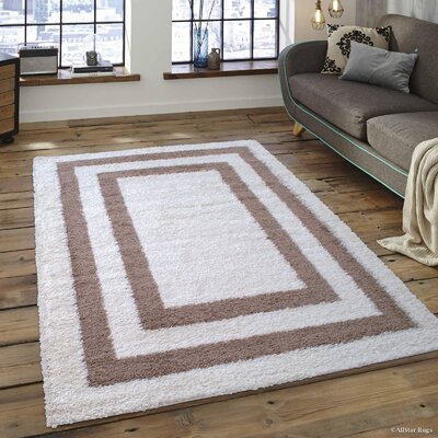 Greenwich High Pile Posh Shaggy Border Colorblock Printed Ivory Area Rug Rug Size: 5 x 7