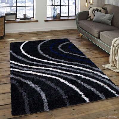 Karns High Pile Posh, Soft and Shaggy Wavy Line Printed Anthracite Area Rug Rug Size: 5 x 7