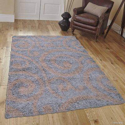 Kautz High-Pile Posh Shaggy Silver Area Rug Rug Size: 5 x 7