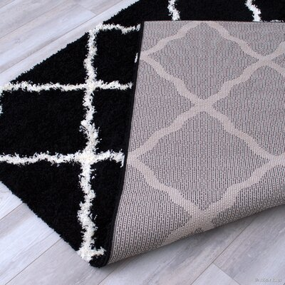 Kavanagh High-Pile Posh Shaggy Black Area Rug Rug Size: 5 x 7