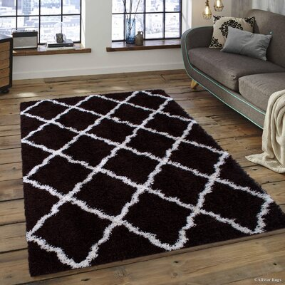Kavanagh High-Pile Posh Shaggy Chocolate Area Rug Rug Size: 5 x 7