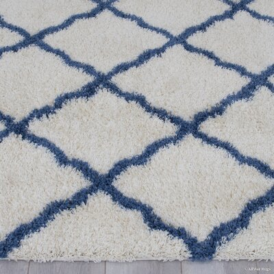 Abbey Ivory Blue Area Rug Rug Size: 5 x 7