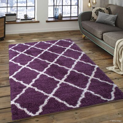 Abbey Purple Area Rug Rug Size: 5 x 7