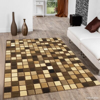 Bushong Modern and Contemporary Square Designed Brown Area Rug Rug Size: 710 x 102