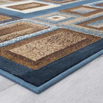 Weber Bordered Aqua Area Rug Rug Size: 52 x 72