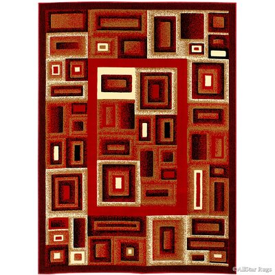 Stein Bordered Red Area Rug Rug Size: 7'10
