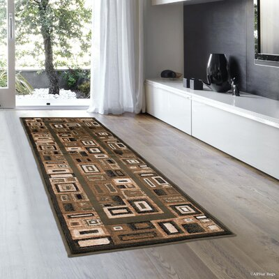 Stein Bordered Sage Green Area Rug Rug Size: Runner 2 x 7